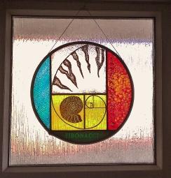 1 Craig Leanney. Fibonacci Spiral. Leaded Glass. 15inch dia